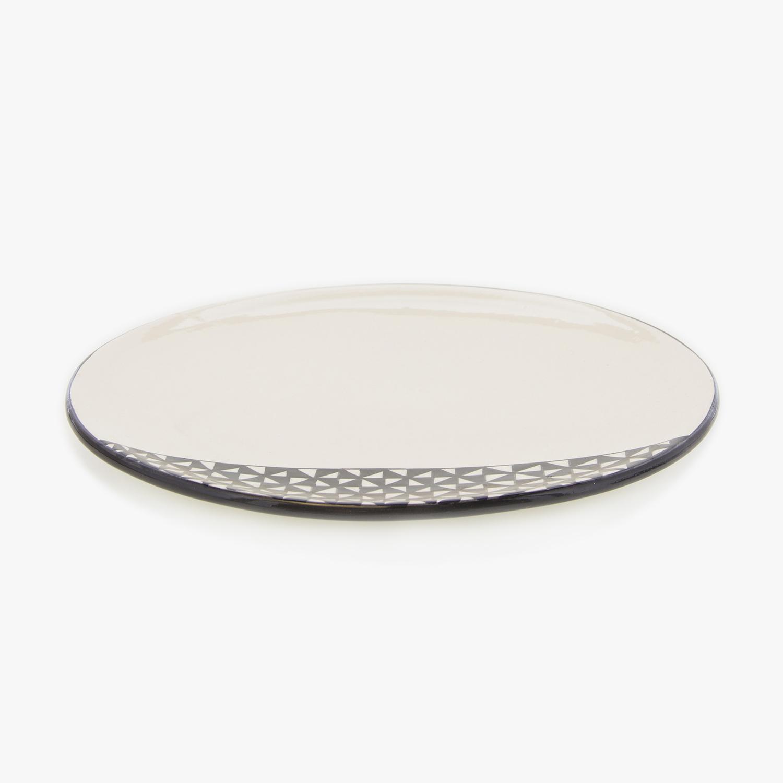 grande assiette motifs g om triques d 27cm noir et blanc nous. Black Bedroom Furniture Sets. Home Design Ideas