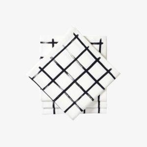 Lot-de-4-serviettes-coton-imprime-grille-43-x-43cm-noir-et-blanc-v1