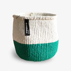 Panier-Kiondo-tresse-a-la-main-petit-modele-vert-et-blanc-v1