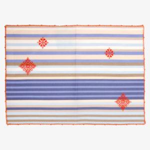 Set-de-table-coton-enduit-rayures-brode-main-fleurs-bordure-orange-v1