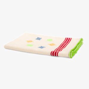 Torchon-a-bandes-rouges-tisse-et-brode-main-bordure-verte-v1