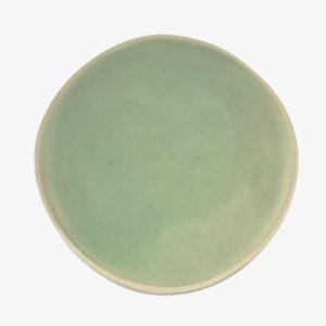 grande assiette plate en grès émaillé céladon vaisselle Laurette Broll