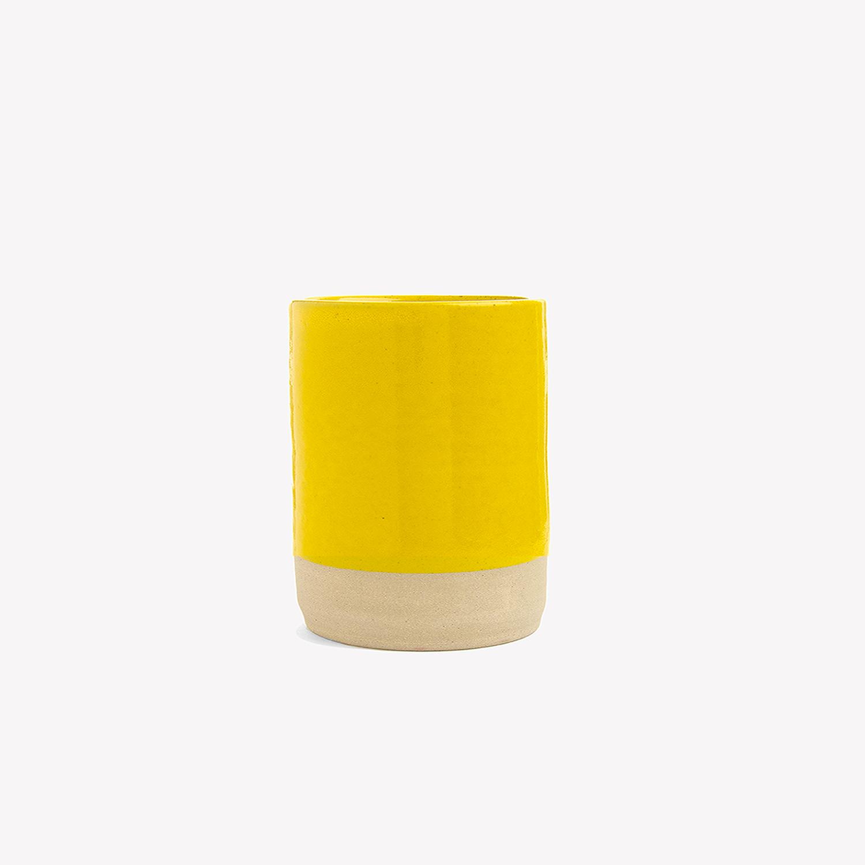 petit vase jaune cylindrique carafe pichet les Guimards
