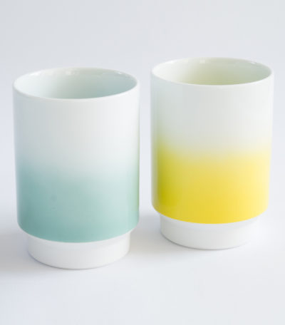 Grande tasse Asemi turquoise et jaune - Japon - Made in Japan