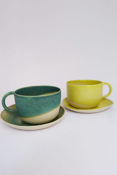 Petite tasse anse ronde et coupelle en grès émaillé turquoise et jaune - Margot Lhomme