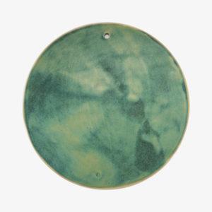 Grande planche ronde en grès émaillé vert - Margot Lhomme