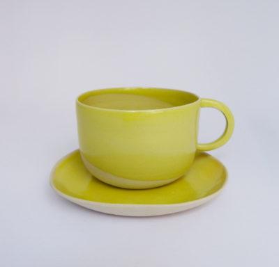 Petite tasse anse ronde et coupelle en grès émaillé jaune - Margot Lhomme