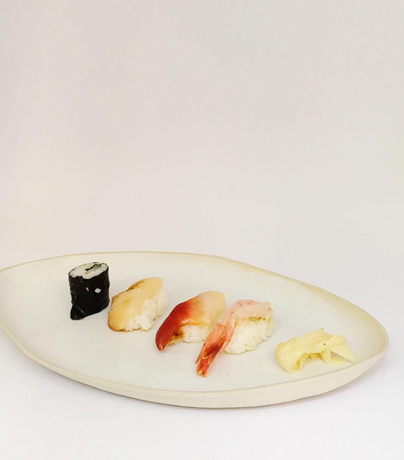 Plat à poisson ovale en grès blanc - Margot Lhomme