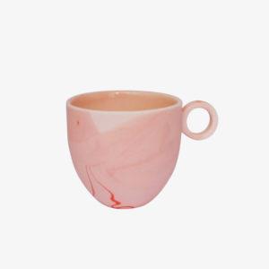 Tasse espresso marbrée en porcelaine émaillée rose - Anna Jones ceramics