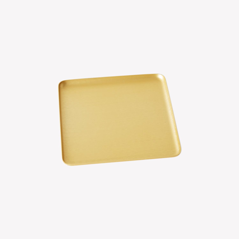 Mini plateau brut en aluminium carré or Kaymet