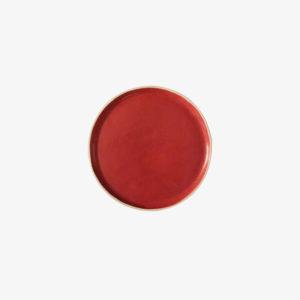 Petite assiette rouge en grès laurette broll