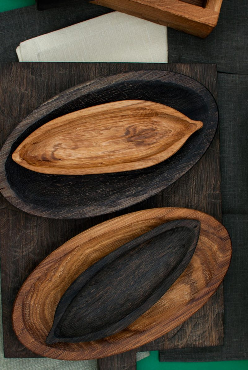 Plateau feuille long chêne naturel et chêne noirci - Fuga