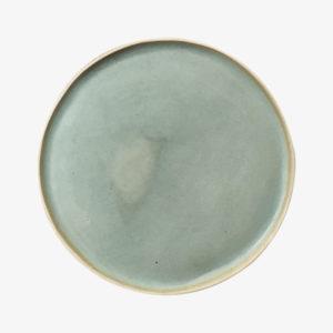 Grande assiette plate en grès émaillé vert lichen laurette broll