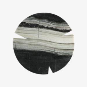 Grande planche ronde en marbre noir blanc Koy