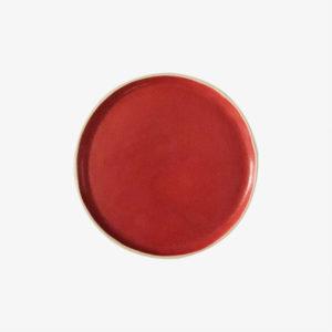 Petite assiette plate en grès émail rouge laurette broll