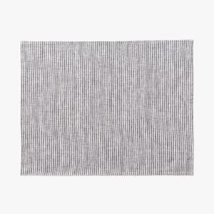Set de table en lin à rayures gris blanc Fog Linen
