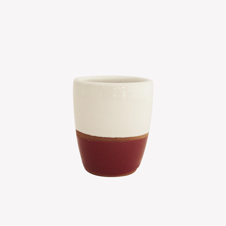 Tasse à expresso en terracotta émaillée couleur rouge - Atsonios Sifnos