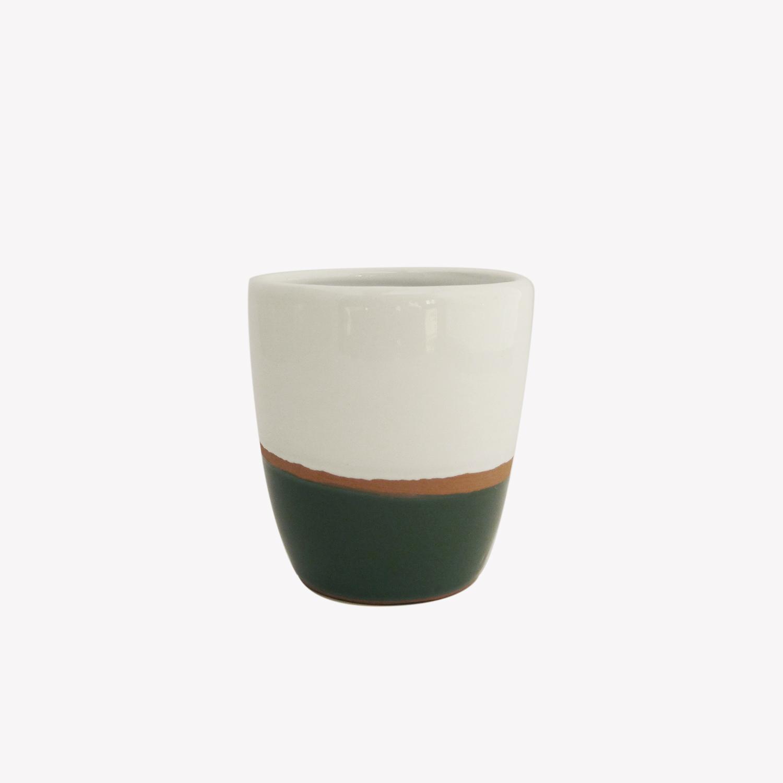 Tasse à expresso en terracotta émaillée couleur vert - Atsonios Sifnos
