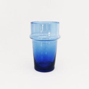 Verre Beldi en verre soufflé à la bouche à relief couleur bleue
