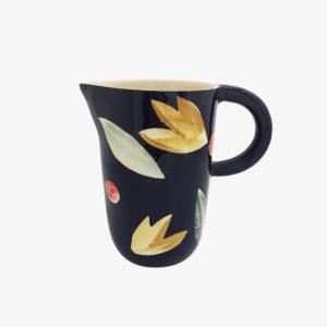 Carafe noire fleurs Elise Lefebvre décoré pichet vaisselle