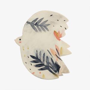 Grand plat en faïence oiseau blanc Elise Lefebvre décoré vaisselle