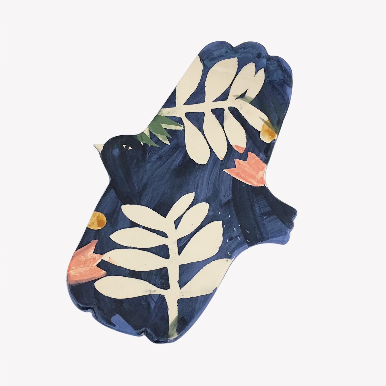 Grand plat en faïence oiseau bleu indigo Elise Lefebvre décoré vaisselle