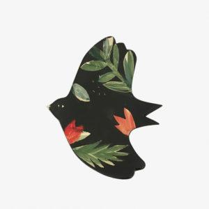 Plat faïence oiseau noir Elise Lefebvre décoré vaisselle
