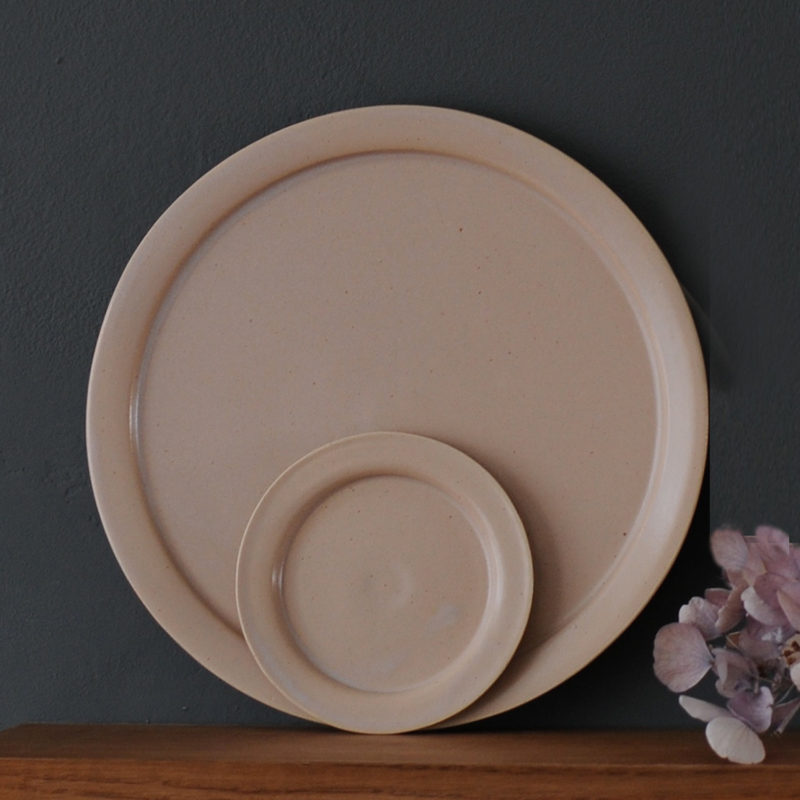 grande assiette plate en gr s maill d 25cm rose nous. Black Bedroom Furniture Sets. Home Design Ideas