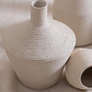 Vase en grès texturé blanc cassandre bouilly