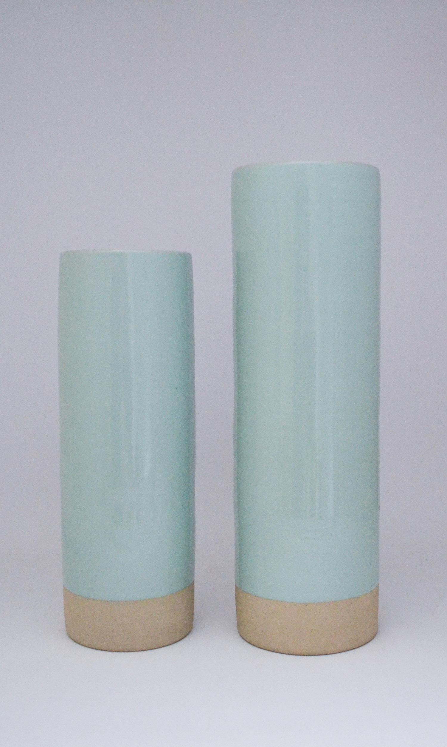 nous paris, vase cylindrique bleu céladon, les guimards