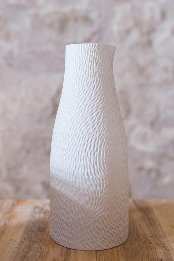 Carafe vase céramique blanc Emmanuelle Manche