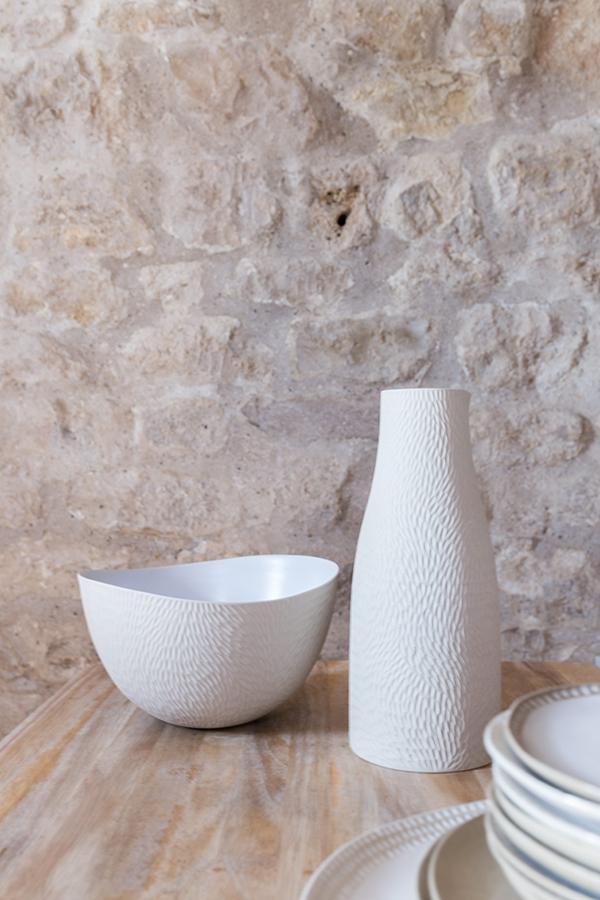 Saladier plat vase céramique blanc Emmanuelle Manche