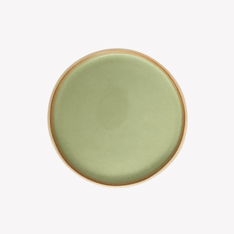 petite assiette plate en grès émaillé vaisselle céramique artisan vert Laurette Broll