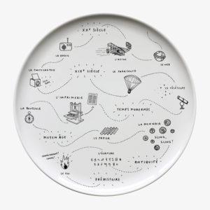 Plat gâteau motif invention Siblings assiette vaisselle céramique