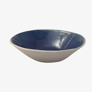 Laurette Broll, grand plat estampé grès émaillé bleu de Sèvres, nous Paris