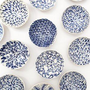 Ceramique lembesis sifnos petit bol bleu faience peint a la main