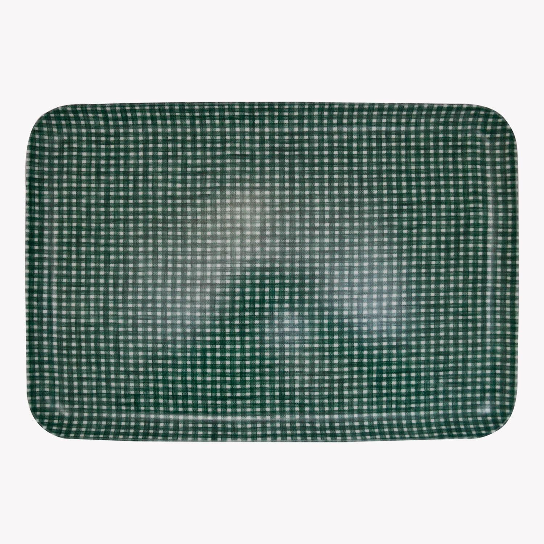 nous paris, grand plateau vichy en lin et résine vert et blanc, fog linen