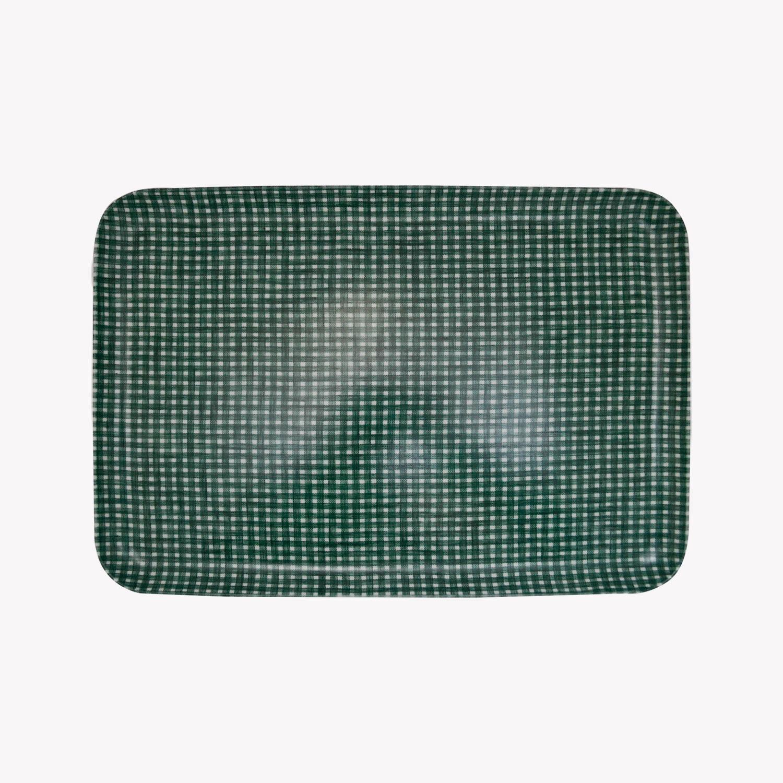 nous paris, moyen plateau vichy en lin et résine vert et blanc, fog linen
