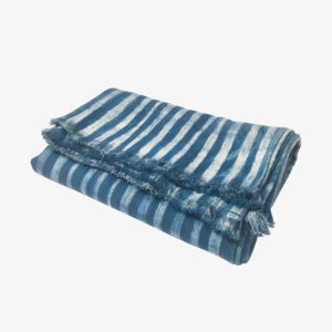 nous paris, nappe à rayures indigo en coton, tensira