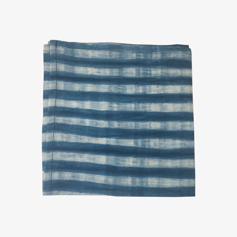 nous paris, serviette de table à rayures indigo en coton, tensira