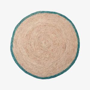nous paris, set de table en raphia naturel turquoise, domoina