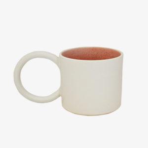 nous paris, grand mug avec anse ronde en grès émaillé blanc rose, I&You ceramics