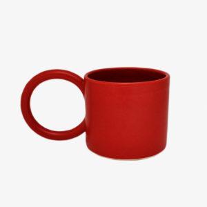 nous paris, grand mug avec anse ronde en grès émaillé rouge, i&you ceramics