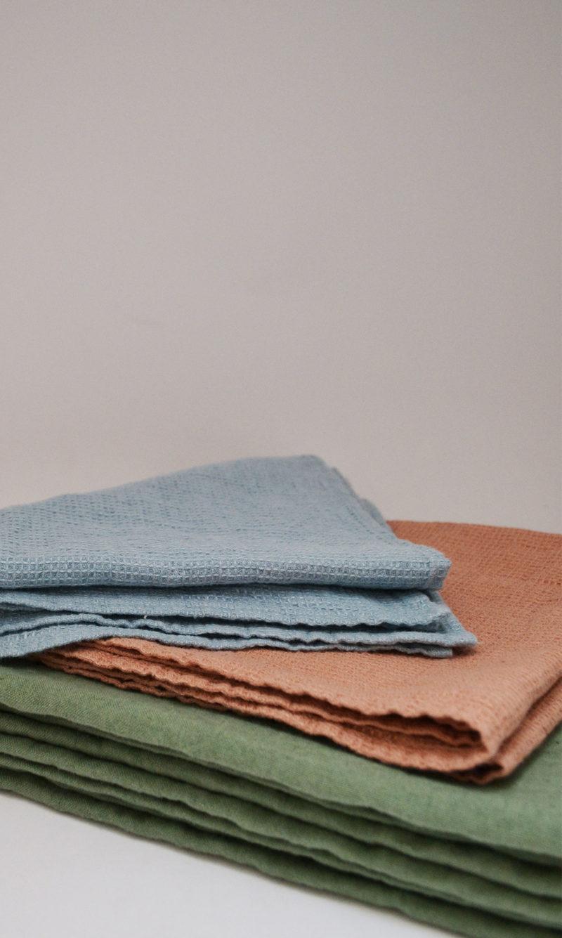 nous paris, nappe et serviette moka jade bleu, linge particulier