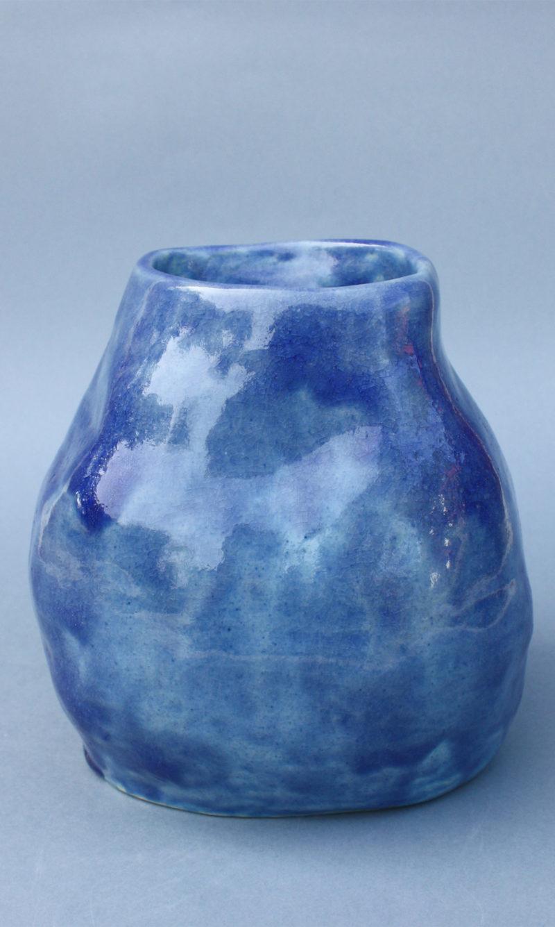 nous paris, vase en grès émaillé bleu, lucile boudier