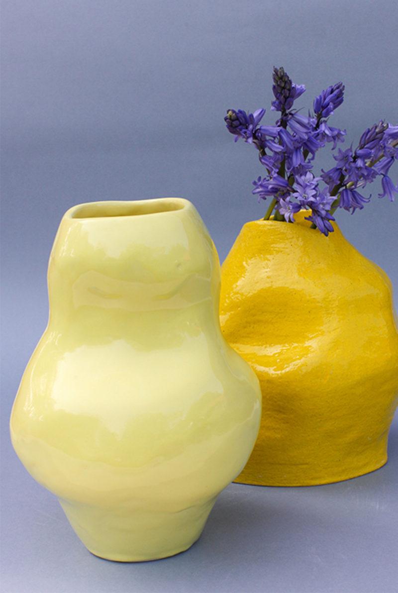 nous paris, grand vase en faïence émaillée jaune, lucile boudier