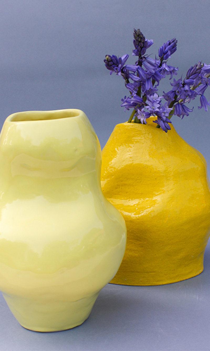 nous paris, vase en faïence émaillée jaune, lucile boudier