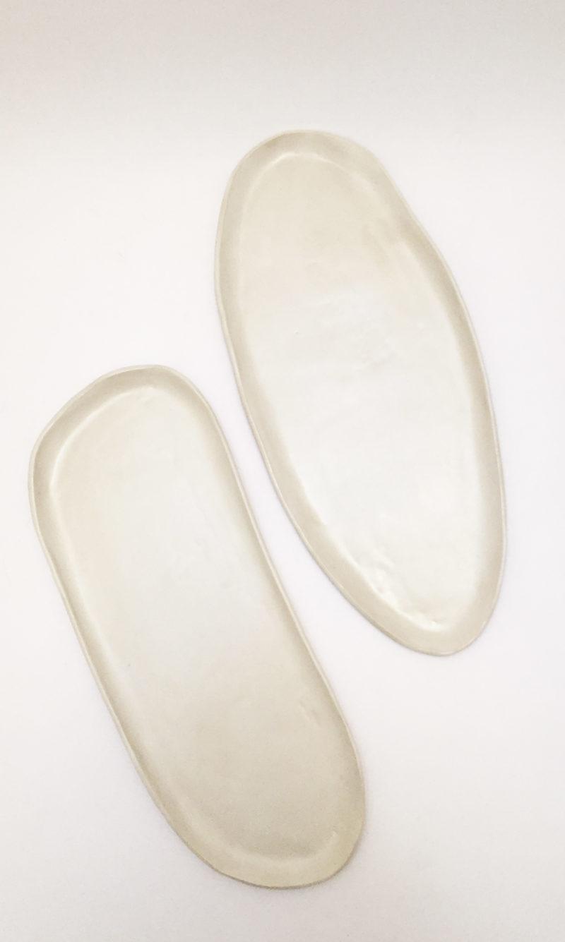 nous Paris plat oval en grès blanc crème Amandine Richard