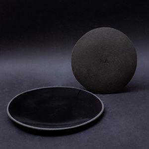 nous paris Lisa Allegra assiette plate sand en grès noir