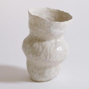 nous paris lucile boudier grand vase large ouverture en gres blanc creme mouchete